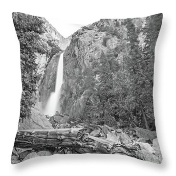 Lower Yosemite Falls In Black And White By Michael Tidwell Throw Pillow