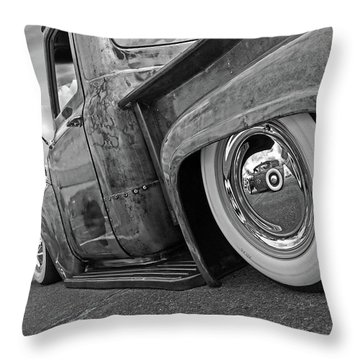 Lowrider In Black And White Throw Pillow