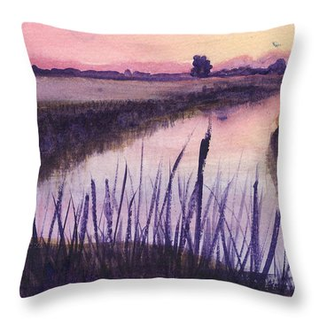Loxahatchee Sunset Throw Pillow by Donna Walsh