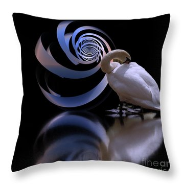 Loxodrome And Swan Throw Pillow
