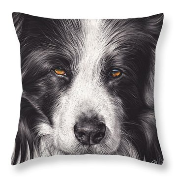 Throw Pillow featuring the mixed media Loyal Companion by Elena Kolotusha