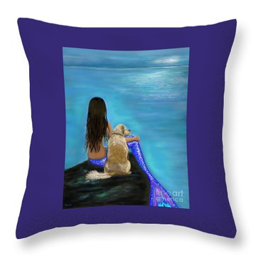 Throw Pillow featuring the painting Loyal Loving Buddy by Leslie Allen