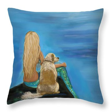 Loyal Mermaids Friend Throw Pillow