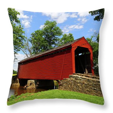 Loys Station Covered Bridge Frederick County Maryland Throw Pillow