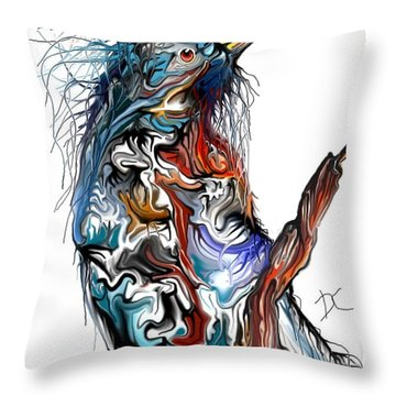 Throw Pillow featuring the digital art Lsd Bird by Darren Cannell