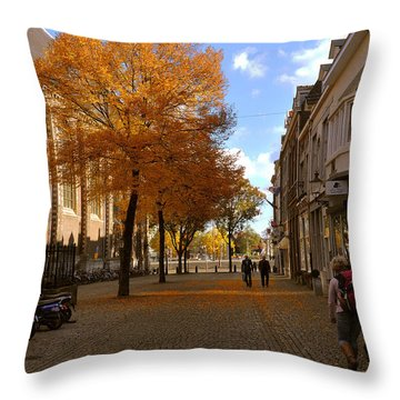 Little Lady Mary Square In October Maastricht Throw Pillow