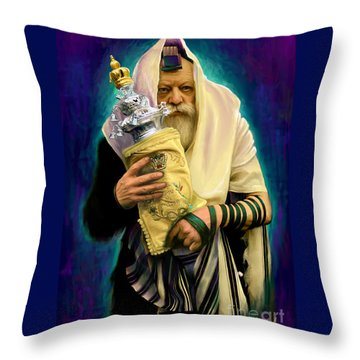 Lubavitcher Rebbe With Torah Throw Pillow by Sam Shacked