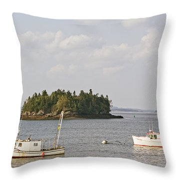 Lubec Harbor Looking North Throw Pillow