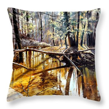 Throw Pillow featuring the painting  Lubianka-2-river by Henryk Gorecki