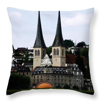 Lucerne Cathedral Throw Pillow by Pravine Chester