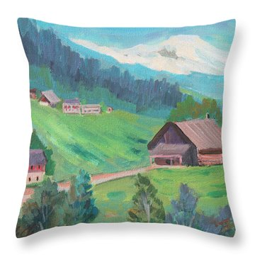 Throw Pillow featuring the painting Lucerne Countryside by Diane McClary