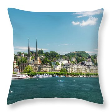 Throw Pillow featuring the photograph Lucerne Panorama by Wolfgang Vogt