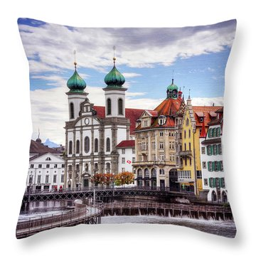 Throw Pillow featuring the photograph Lucerne Switzerland  by Carol Japp