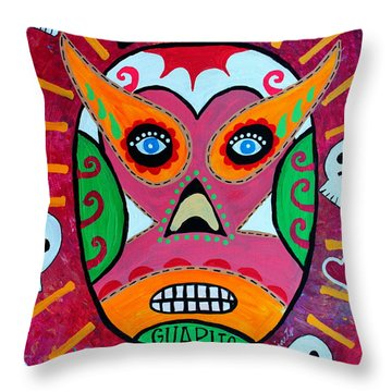 Throw Pillow featuring the painting Lucha Libre by Pristine Cartera Turkus