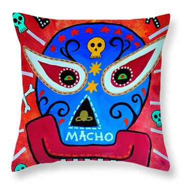 Throw Pillow featuring the painting Luchador by Pristine Cartera Turkus