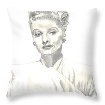 Throw Pillow featuring the drawing Lucille by Carol Wisniewski