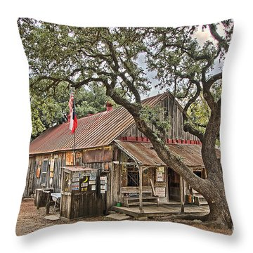 Luckenbach Post Office And General Store_1 Throw Pillow