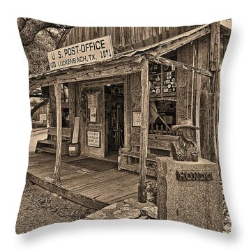 Luckenbach, Tx Post Office Throw Pillow