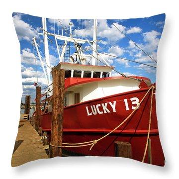 Lucky 13 At Long Beach Island Throw Pillow