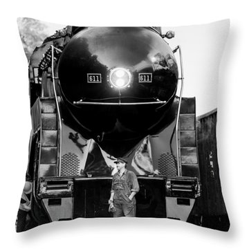 Coal Steel And Steam Throw Pillow