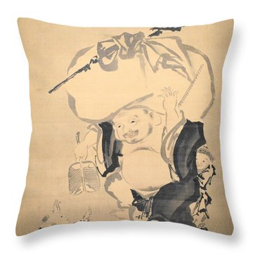 Lucky Gods Hotei Throw Pillow