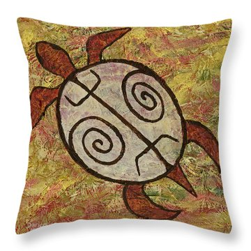 Throw Pillow featuring the painting Lucky Honu by Darice Machel McGuire