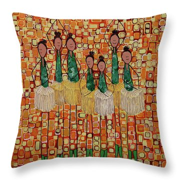 Throw Pillow featuring the painting Lucky Seven by Donna Howard