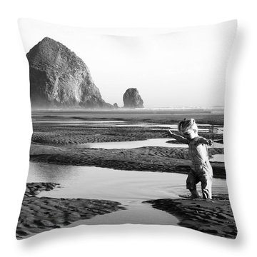 Lucy At Haystack Rock Throw Pillow