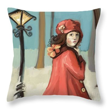 Girl In The Snow Throw Pillow by Carrie Joy Byrnes