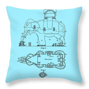 Lucy The Elephant Patent 1882 Throw Pillow