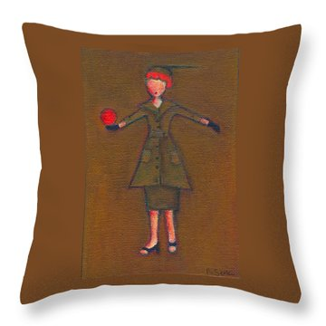Lucy's Burning Red Ball Throw Pillow