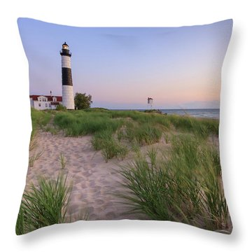 Throw Pillow featuring the photograph Ludington Beach And Big Sable Point Lighthouse by Adam Romanowicz