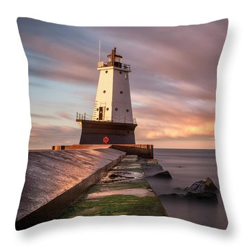 Throw Pillow featuring the photograph Ludington Light Sunrise Long Exposure by Adam Romanowicz