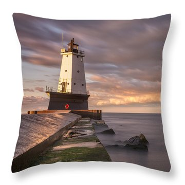 Throw Pillow featuring the photograph Ludington North Breakwater Light At Dawn by Adam Romanowicz