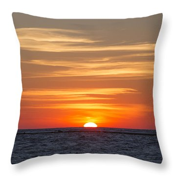 Throw Pillow featuring the photograph Ludington North Breakwater Light At Sunset by Adam Romanowicz