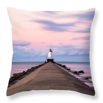 Throw Pillow featuring the photograph Ludington North Breakwater Light Sunrise by Adam Romanowicz