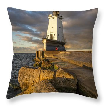 Throw Pillow featuring the photograph Ludington North Breakwater Lighthouse At Sunrise by Adam Romanowicz