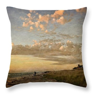 Ludington State Park Beach House At Sunset Throw Pillow