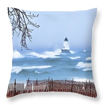 Ludington Winter Shore  Throw Pillow by Dick Bourgault