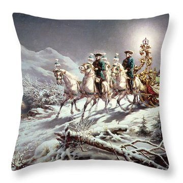 Ludwig II Of Bavaria Sleighing At Night From Neuschwanstein To Linderhof Throw Pillow
