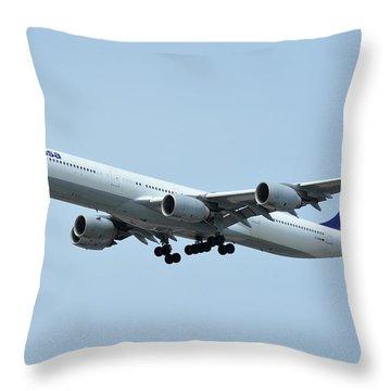 Lufthansa Airbus A340-600 D-aihw Los Angeles International Airport May 3 2016 Throw Pillow by Brian Lockett