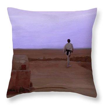 Luke Skywalker Tatooine Sunset Throw Pillow