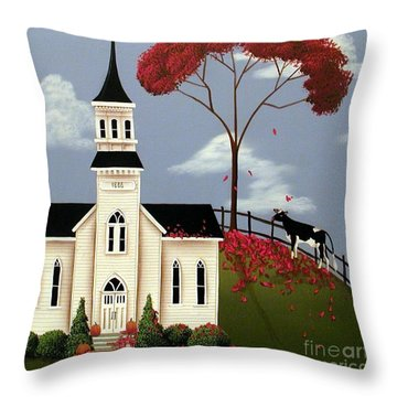 Lulabelle Goes To Church Throw Pillow by Catherine Holman
