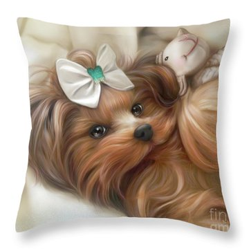 Lulu And Mr.lamb Throw Pillow by Catia Cho