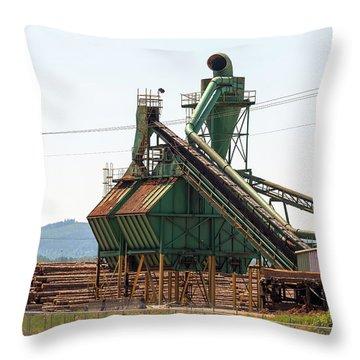 Lumber Mill Sawdust Machinery Throw Pillow