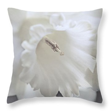 Throw Pillow featuring the photograph Luminous Ivory Daffodil Flower by Jennie Marie Schell