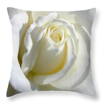 Luminous Ivory Rose Throw Pillow