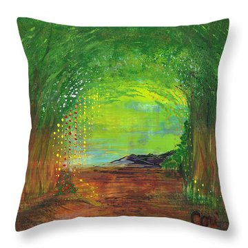 Luminous Path Throw Pillow