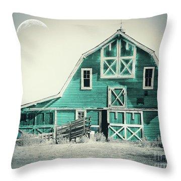 Luna Barn Teal Throw Pillow
