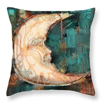 Throw Pillow featuring the painting Luna by Carrie Joy Byrnes